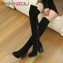 ANNYMOLI Cow Suede Thigh High Boots Women Real Leather Thick Heel Over the Knee Boots Zip Super High Heel Shoes Ladies Winter 39 цены онлайн