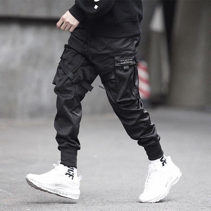 Men Ribbons Color Block Black Pocket Cargo Pants  1