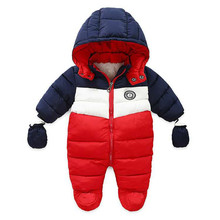 newborn toddler coats for winter alphabet print color matching Hooded jumpsuit baby