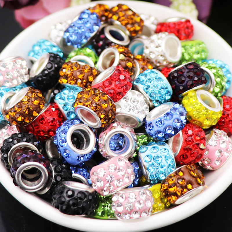 20 Pcs Set Big hole CZ crystal beads rhinestone murano spacer bead charms fit for pandora bracelet necklace jewelry accessories(China)