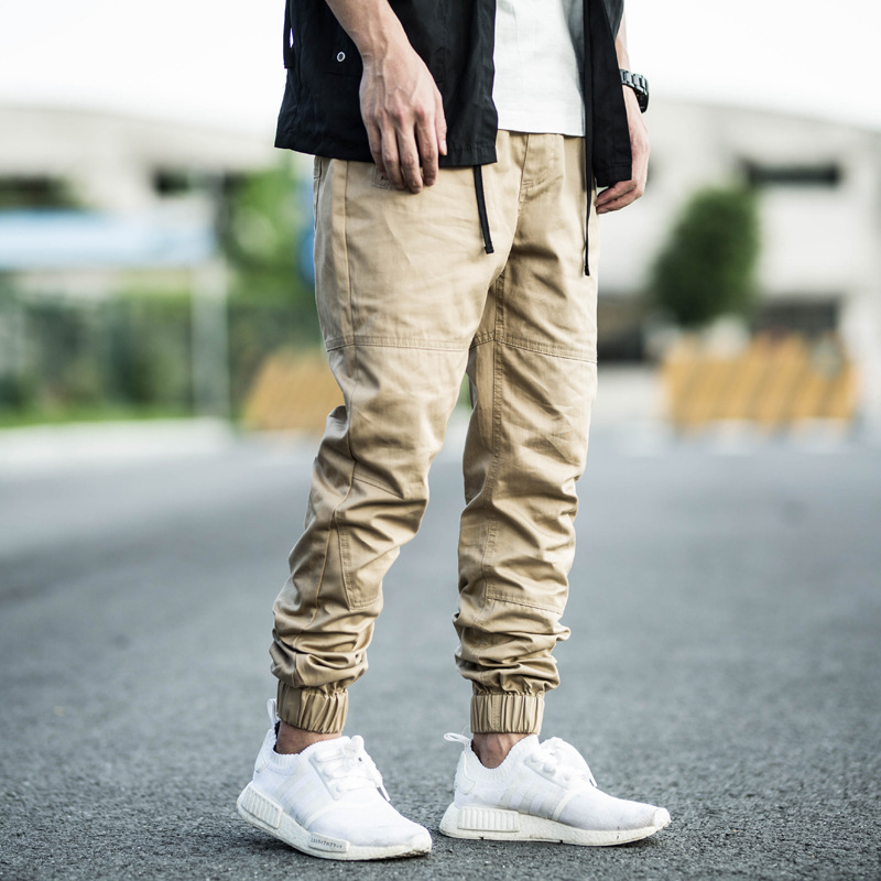 Enshadower Jogging Sports Workwear Ankle Banded Pants Casual Pants Trousers Suo Jiao Skinny Slim Fit Closing Foot Thinner Pants