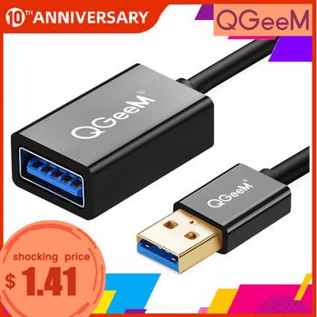 QGeeM przedłużacz usb przewód super prędkość kabel USB 3 0 męski na żeński 1m 2m 3m synchronizacja danych usb 2 0 przedłużacz przedłużacz USB tanie i dobre opinie Męski-żeński U3AAF Kable USB Pakiet 1 Woreczek foliowy Komputer Multimedia