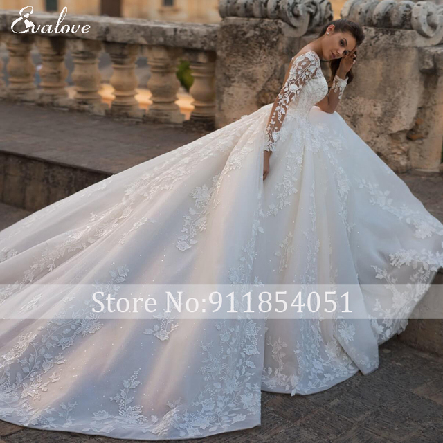 EVALOVE Luxury Scoop Neck Lace Up Beading A-Line Wedding Dress Gorgeous Long Sleeve Appliques Sparkly Tulle Vintage Bridal Gown 5
