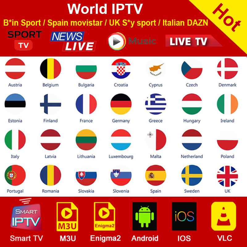 World M3U Iptv Subscription For Spain Italy Germany Netherlands Turkey UK USA IPTV Sports Channel Smart Android TV Box M3U IPTV
