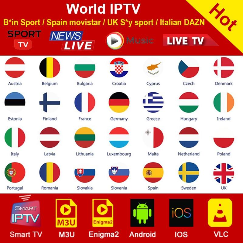 World M3U Iptv Subscription For Spain Italy Germany Netherlands Turkey UK USA IPTV Sports Channel Smart Android TV Box M3U IPTV