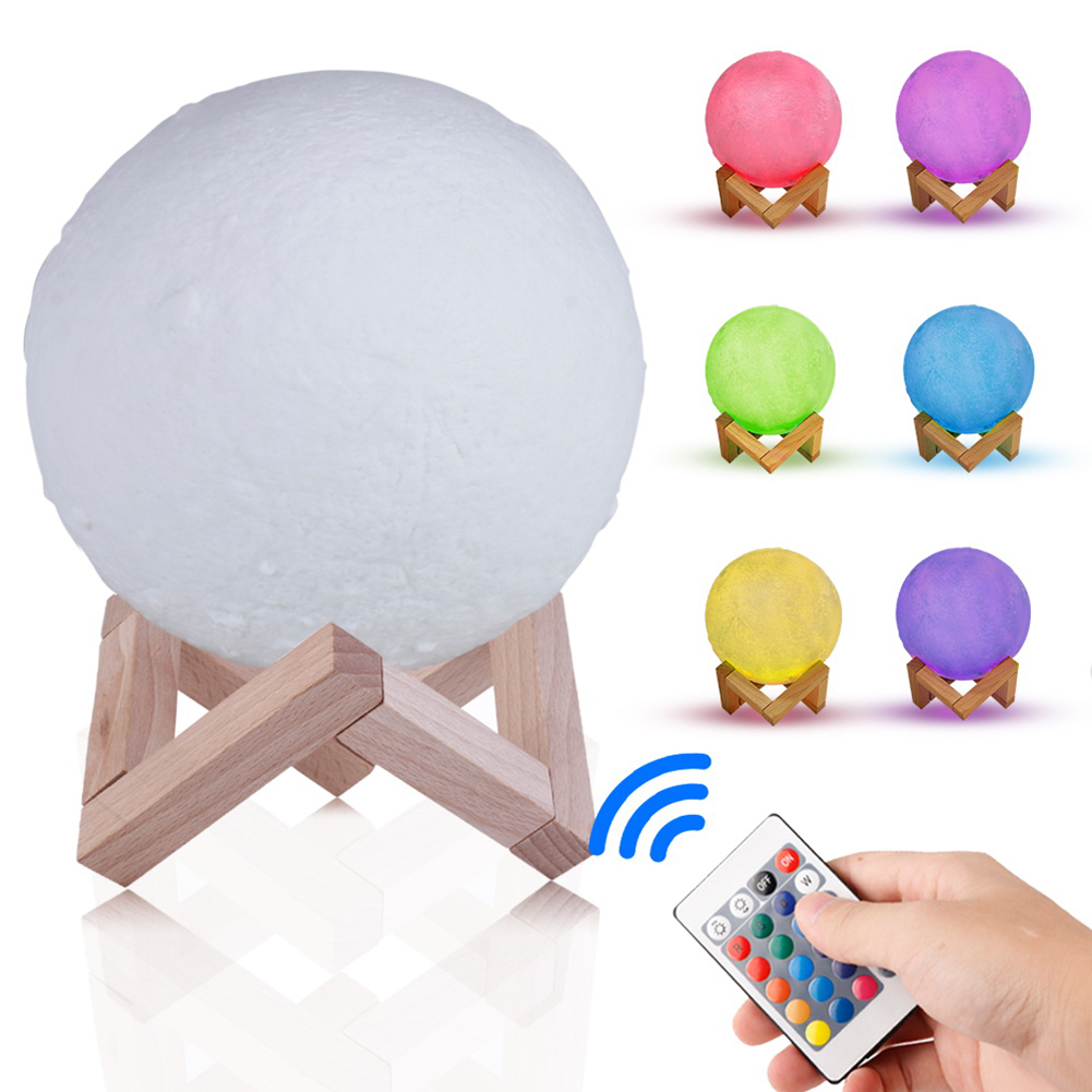 16 Colors 3D Print Moon Lamp Remote Control Bedside LED Night Light Rechargeable Color Change Moon Light Children's Night Lamp