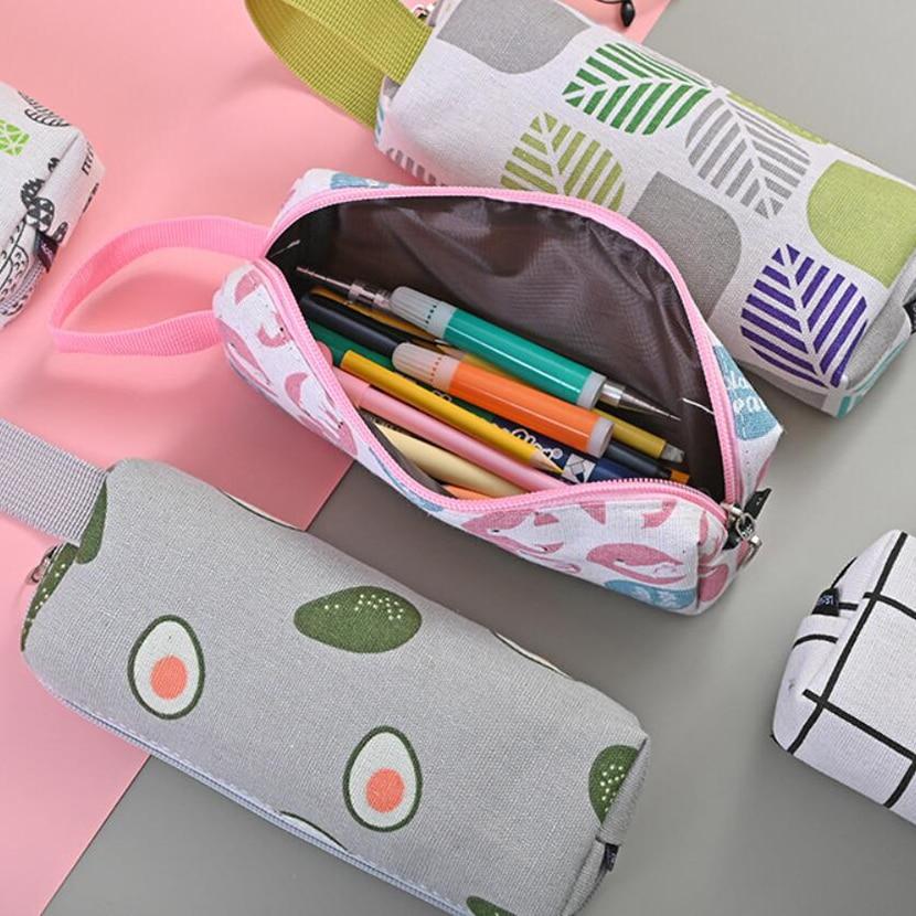 Pencil Cases For Adults Estuche Avocado Office Stationery Stands Fashionable School Pencil Case Big Pen Bag Kawaii Cartridges