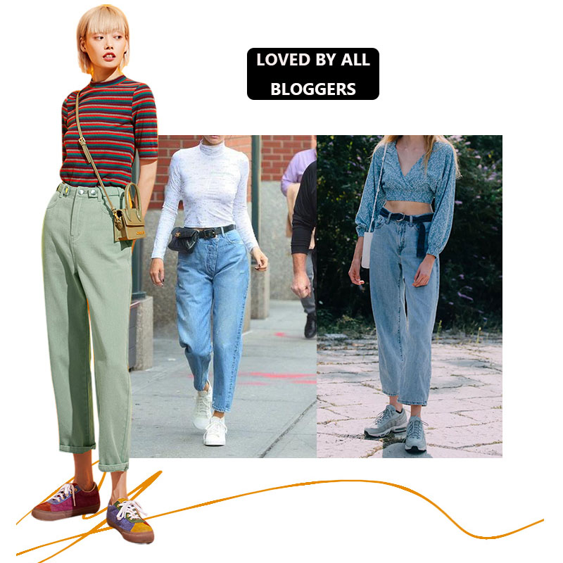 Image 4 - Samstree Blue Solid Pocket Side High Waist Retro Leisure Jeans  Women 2019 Autumn Green Black Straight Korean Female Denim PantsJeans