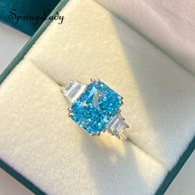 925 Sterling Silver Created Simulated Moissanite Aquamarine Rings For Women Wedding Engagement Fine Jewelry Lab Diamond