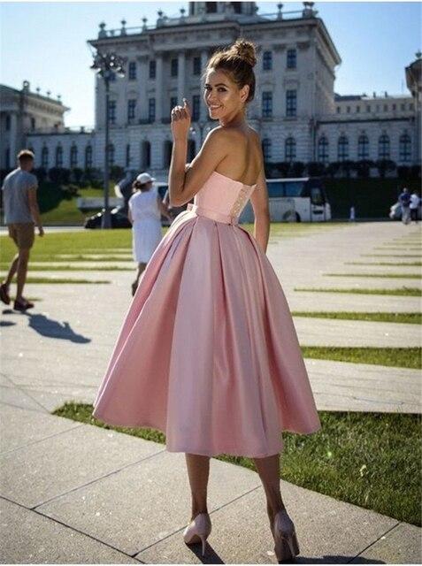 A-Line Princess Satin Bowknot Sweetheart Sleeveless Tea-Length Homecoming Dresses robes de cocktail vestidos de graduación