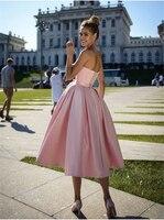 A Line Princess Satin Bowknot Sweetheart Sleeveless Tea Length Homecoming Dresses robes de cocktail vestidos de graduación