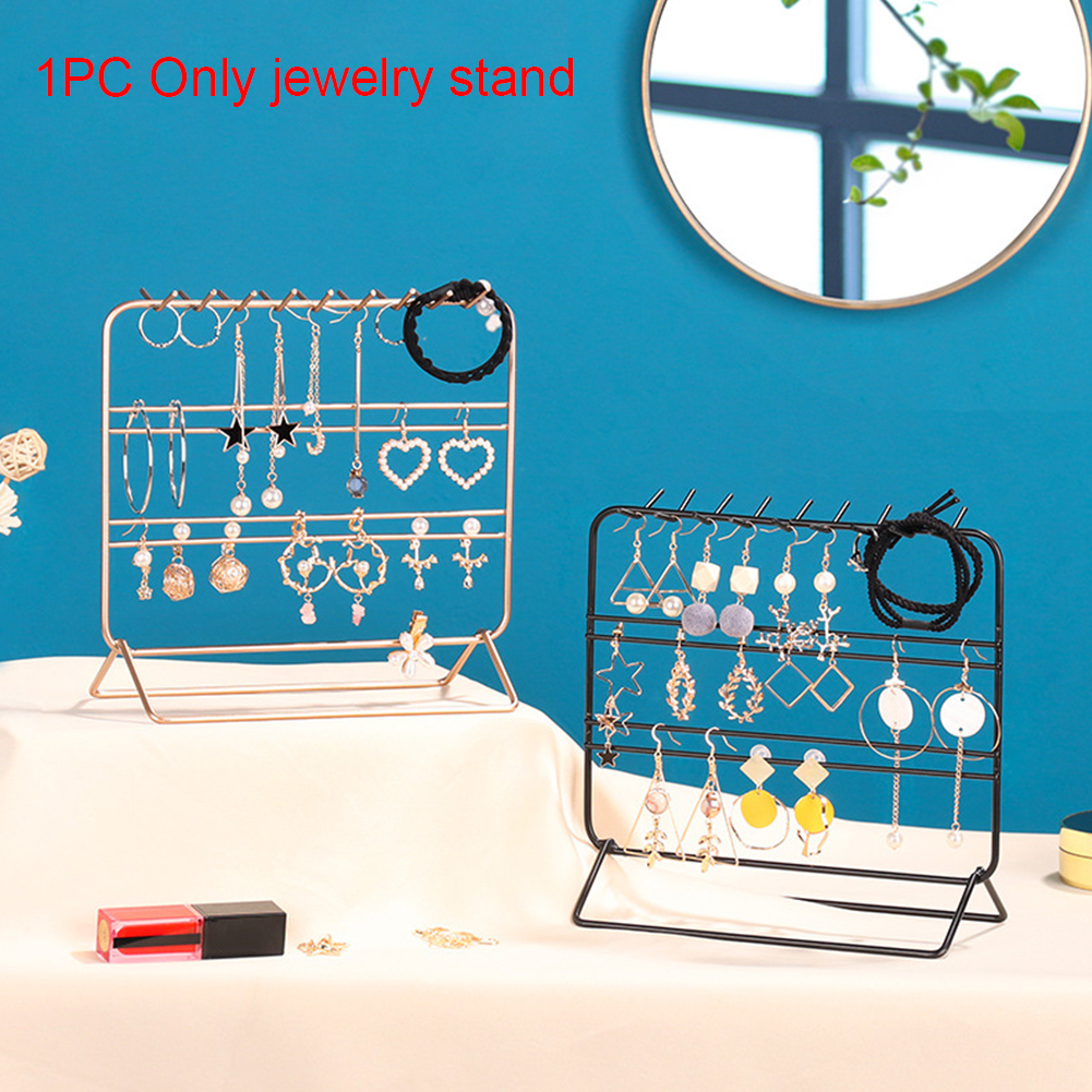Jewelry Storage Rack With Hook Rings Wrought Iron Organizer Display Stand Holder Showcase Necklace Earrings Decoration Bedroom