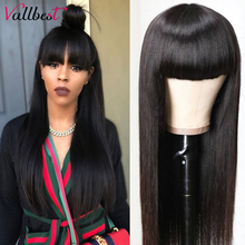 Vallbest-pelucas de cabello humano liso con flequillo hechas a máquina, 100% cabello humano brasileño, Remy, sin encaje