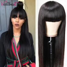 Vallbest proste włosy ludzkie peruki z grzywką pełna maszyna wykonane peruki 100% ludzki włos brazylijski Remy włosy nie koronkowe peruki dla kobiet