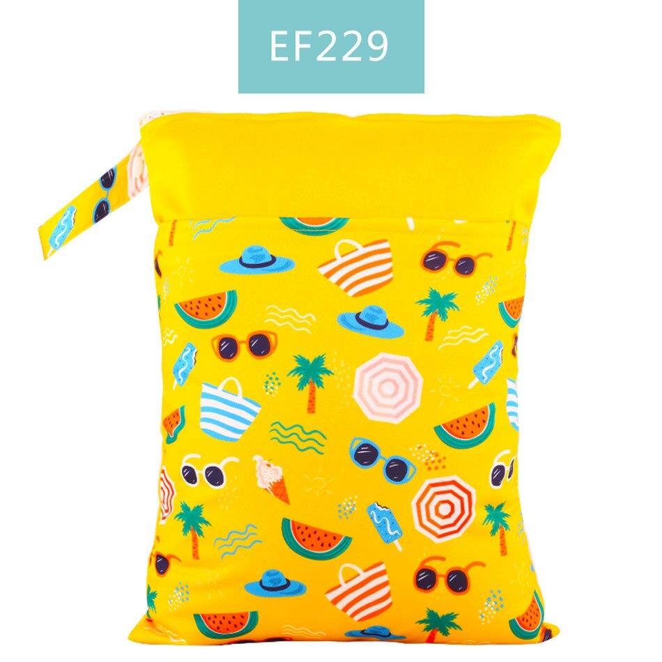 Happy Flute 1 шт. Многоразовые водонепроницаемые модные принты влажная сухая сумка для подгузников двойной карман тканевая Ручка сумки для мокрого плавания 30*40 см - Цвет: ES001EF229