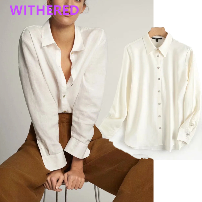 Withered england office lady simple cotton linen solid comfort blouse women blusas mujer de moda 2020 loose shirt womens tops