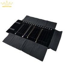 Neue schwarz samt schmuck rolle tasche grau anhänger armband lagerung tasche tragbare halskette display koffer gummiband schmuck tasche