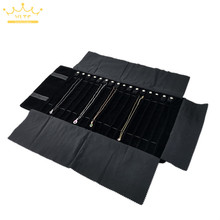 New black velvet jewelry roll bag gray pendant bracelet storage bag portable necklace display suitcase rubber band jewelry bag