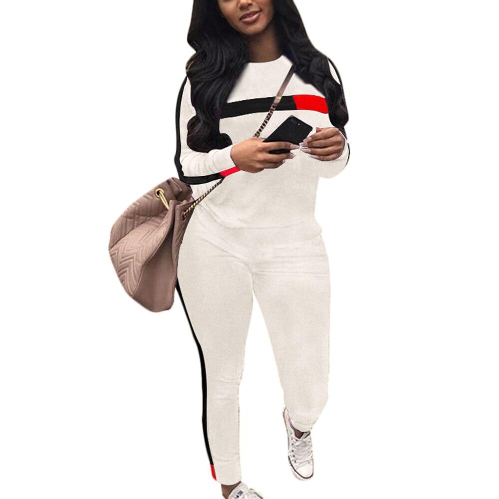 Laamei Autumn Casual Women Long Sleeve Hoodies Tops Pants Tracksuit Sweatshirt Pant Suit Jogging Set Outwear Winter Warm New