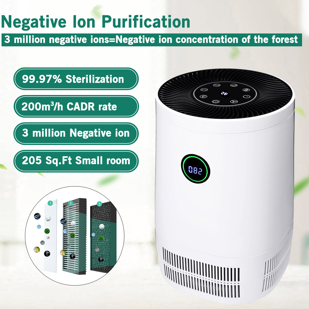 3 IN 1 AUGIENB 7 stage HEPA Air Purifier Ionizer Filter UV Sterilizer Humidifier