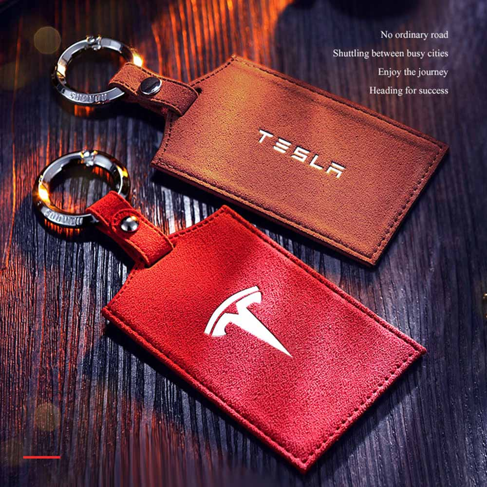 For Tesla model 3  accessories Turn fur Key card package driver s license book protector bank card storage Red brown black