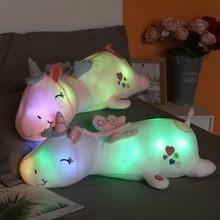 60cm Unique Glowing Unicorns Plush toy Giant Unicorn Stuffed Animals Doll Cute Fly Horse Toy for Child Xmas Gift
