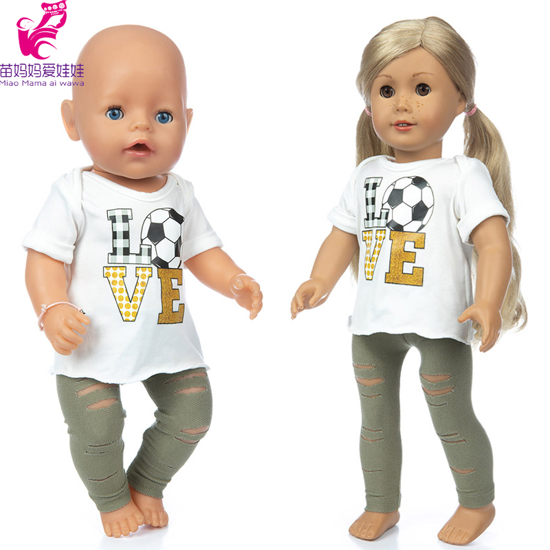 43cm Baby Doll Football Shirt Rippe Jeans Trousers Baby Girl Gift 18 Inch American Og Girl Doll Clothes Pants Set