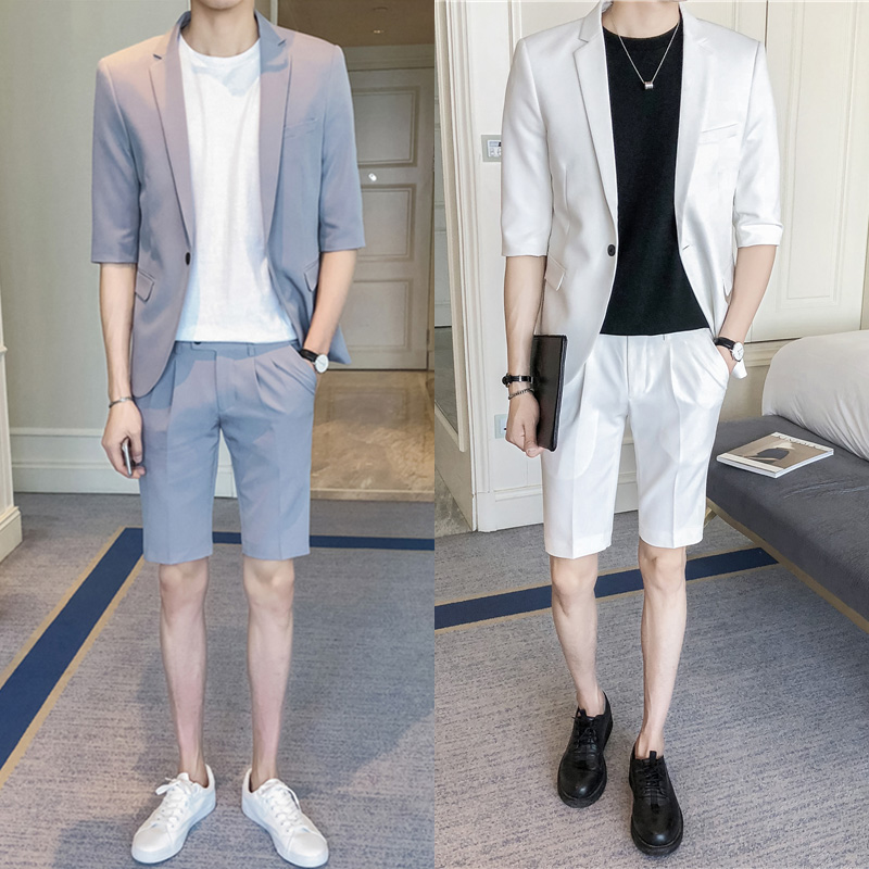 Fashion New Summer <font><b>Suits</b></font> for <font><b>Men</b></font> Half Sleeve Blazer+<font><b>Shorts</b></font> Slim Fit Casual Costume Homme Korean style Youth Streetwear <font><b>suit</b></font> <font><b>men</b></font> image