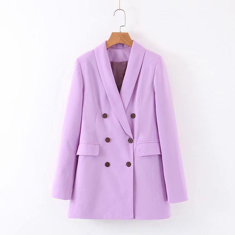 Women Chic Purple Blazer Double Breasted Long Sleeve Office Wear Coat Solid Female Casual Outerwear Tops