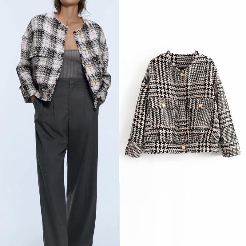 2019 autumn women jacket england office lady Plaid tweed jacket blazer feminino women blazer mujer women blazers and jackets
