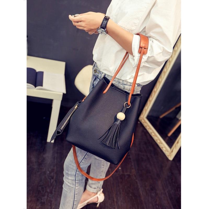 Women PU Leather Bucket Shoulder Bag With Small Handbag Messenger Satchel Bag SER88