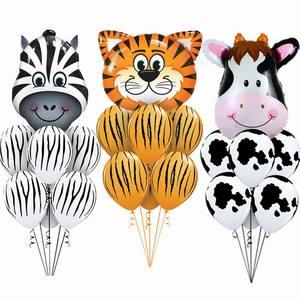 7 pcs/lot Tiger Zebra Cow Animal Air Helium Latex Balloon for Kids Gift Birthday Party Decor Animal Zoo Theme Supplies Toys(China)