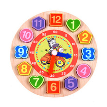 Assembly Toys Kids Wooden Puzzle Cognitive Digital Clock Jigsaw Education Cartoon Threading