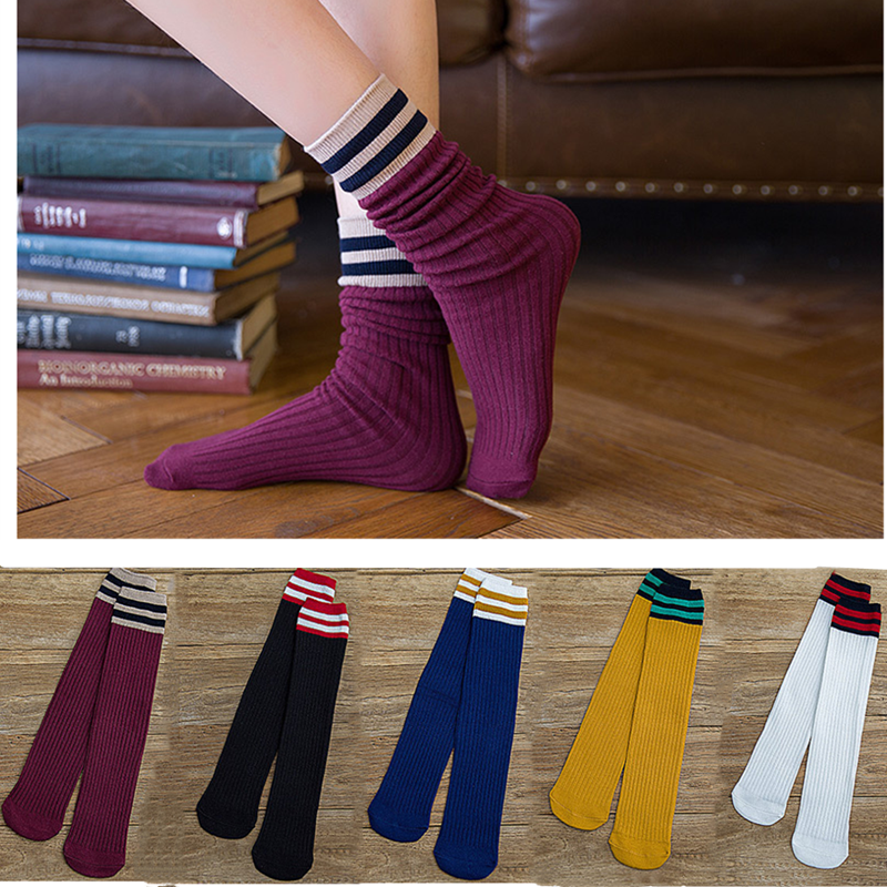 Japanese Harajuku Style Cute Girl Calf High Socks Fun Casual College Style Striped Long Socks Woman Street Fashion Cotton Socks