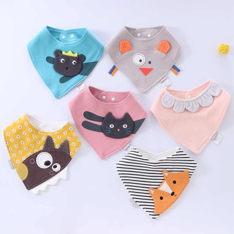 Adorable Newborn Baby Bibs Infnat Boys Girls Organic Cotton Triangle Bib Animal Mouse Cat Owls Toddler Soft Bandana
