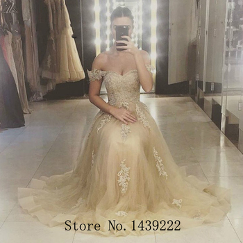 Champagne Tulle Evening Dress Celebrity Off The Shoulder Prom Appliques Formal Dresses Robe De Soiree Evening Party Gown
