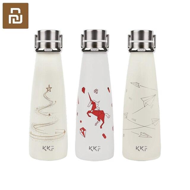 Youpin KKF בקבוק ואקום נייד תרמוס כוס נסיעות ספל 304 נירוסטה עם אבץ סגסוגת כף יד טבעת 3 דפוסים