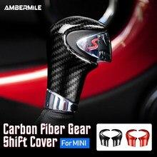 Ambermile real fibra de carbono para mini cooper r55 r56 r57 r58 r59 r60 r61 acessórios interior guarnição do carro mudança de engrenagem capa adesivo