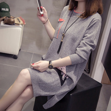 Milinsus Fall Winter Knitted Dresses Women 2019 Plus Size Loose Cute Cartoon Sweater Office Lady Vintage Elegant Dress Korean