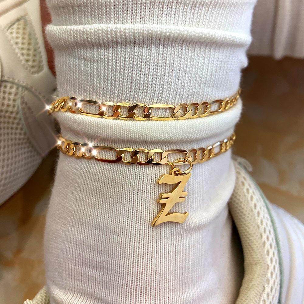 Flatfoosie S-Z Letter Initial Anklets Bracelet For Women Gold Color Alphabet Anklet Boho Summer Beach Barefoot Foot Jewelry Gift