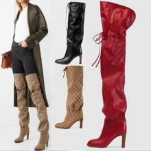 New Fashion Women Shoes Square Heel Thigh High Boots Round Toe Strappy Over The Knee Boots 2019 Winter Shoes Lady Leather Boots dubuisson exaltabo te grand motet