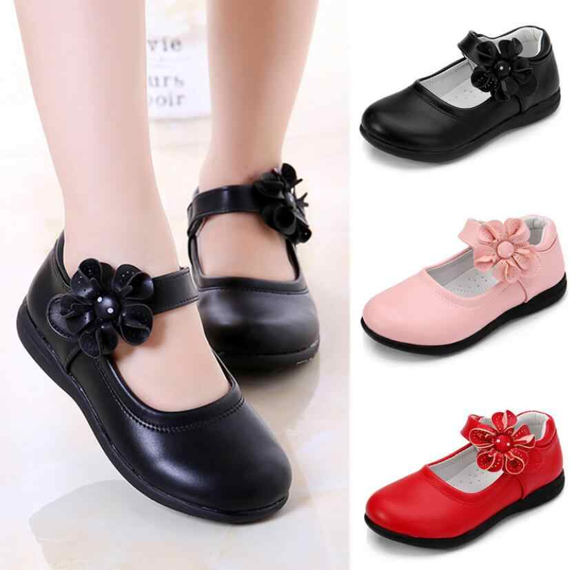 Girls Leather Shoes for Children Wedding Dress Princess School Shoes Kids Summer Bow-knot Black Student Sandals Korean Fashion