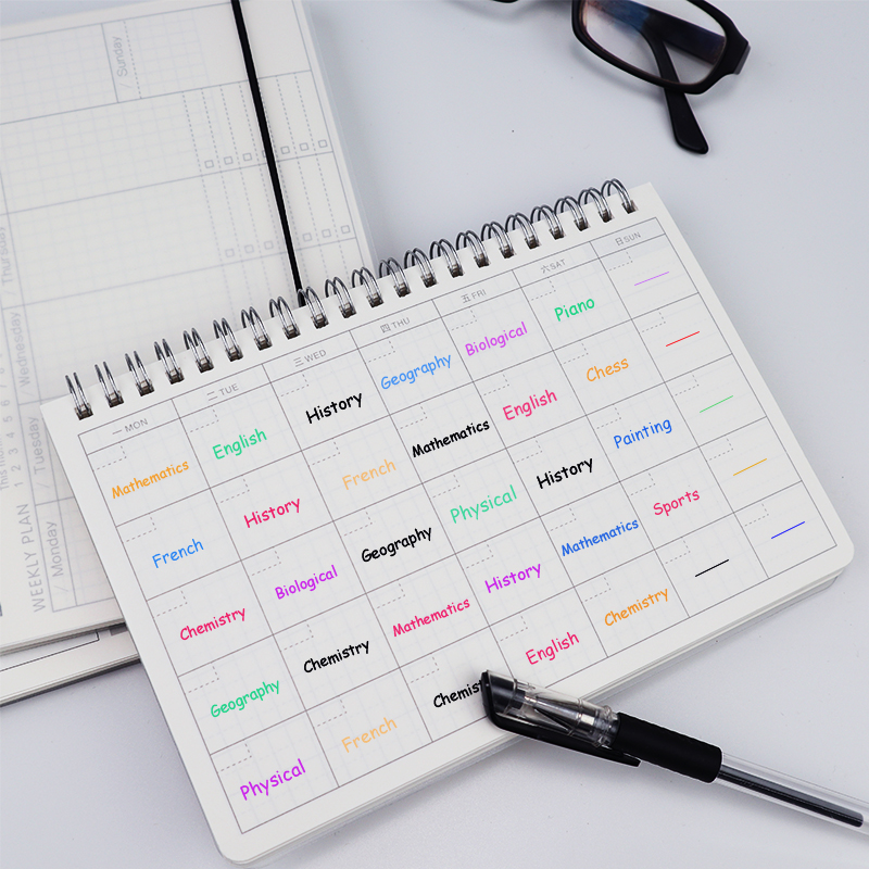 Monthly Daily Weekly 2019 2020 Planner Spiral A5 <font><b>Notebook</b></font> Time Memo Planning Organizer Agenda School Office schedule Stationary image