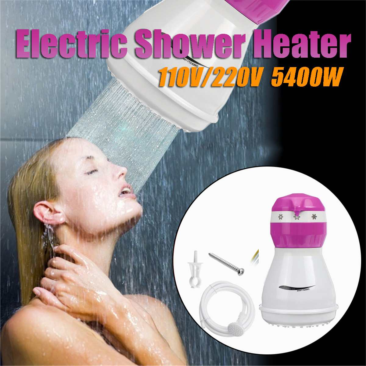 5400W 110V/220V Electric Hot Water Heater Instant Boiler Bathroom Shower Thermostat Safe Intelligent Automatically