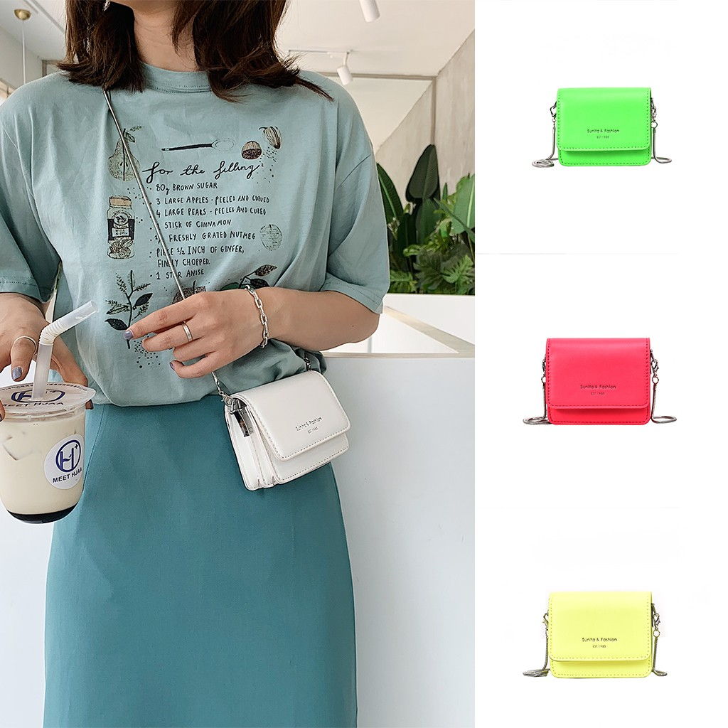 Women Handbag Purse Chain Messenger-Bag Pink Small Mini Crossbody Neon Green Yellow Hot-Sale title=
