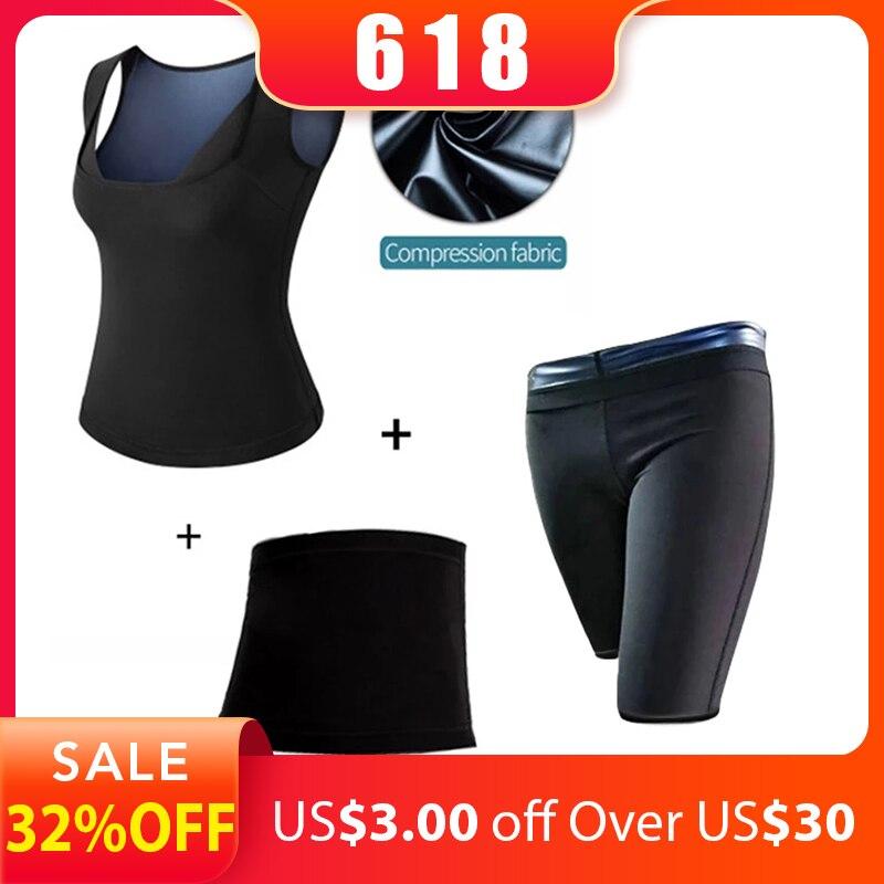 MUKATU(Vest+Belt+Pant) Neoprene Body Shaper Women Waist Trainer Slimming Pants Vest Super Stretch Super Lose Weight Control Pant
