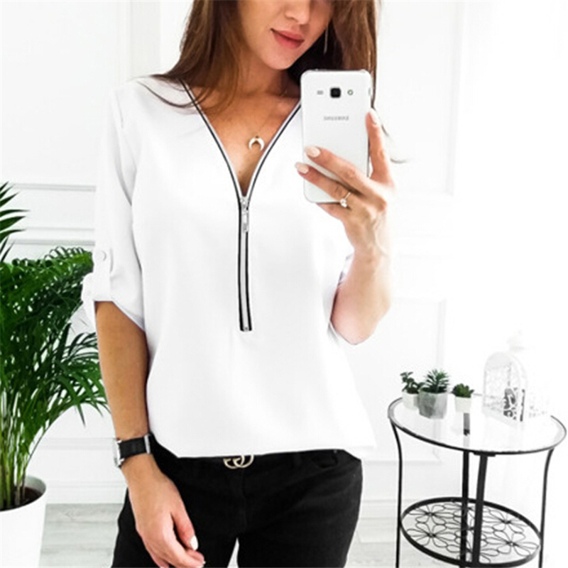 Women Blouses Fashion Ladies Long Sleeve V Neck Blouse Casual Solid Women Zipper Loose Blouse Shirts Tops Female Blouses