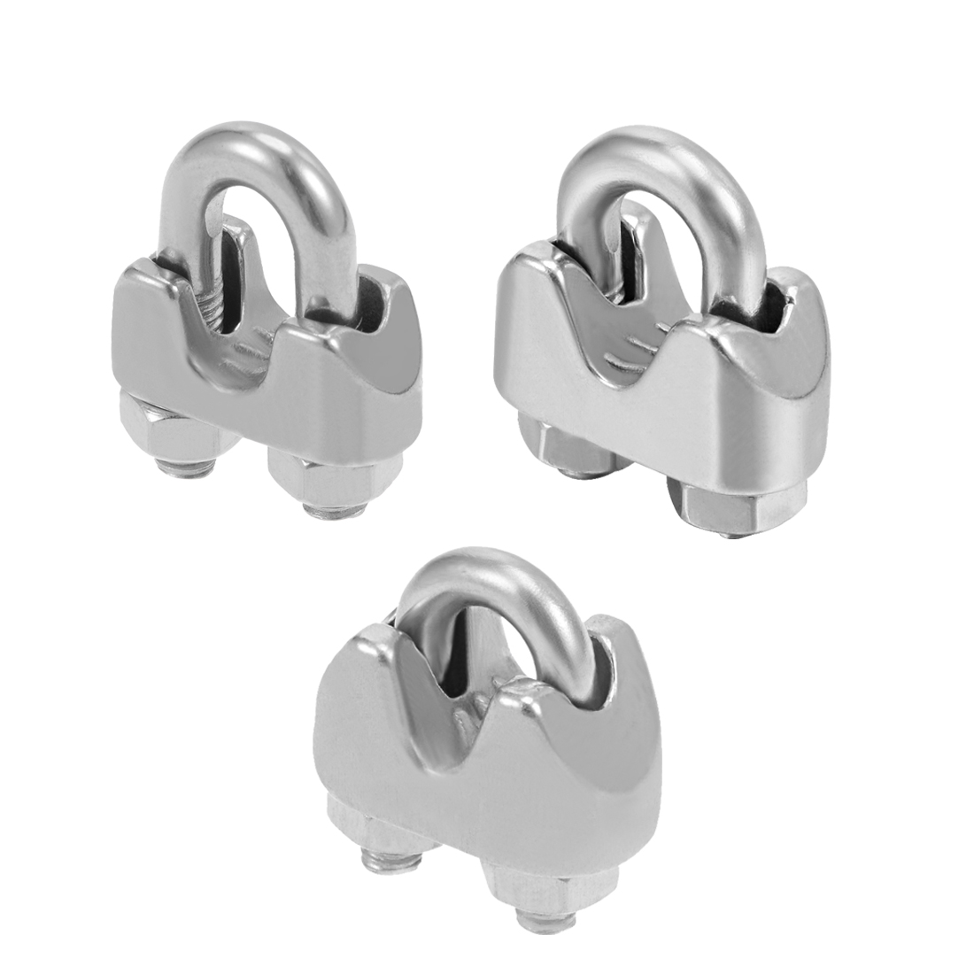 Uxcell 4-10pcs Stainless Steel 2mm 1/16 Inch 4mm 5/32 Inch 5mm 13/64 Inch Wire Rope Clip Cable Clamp Fastener Silver Tone