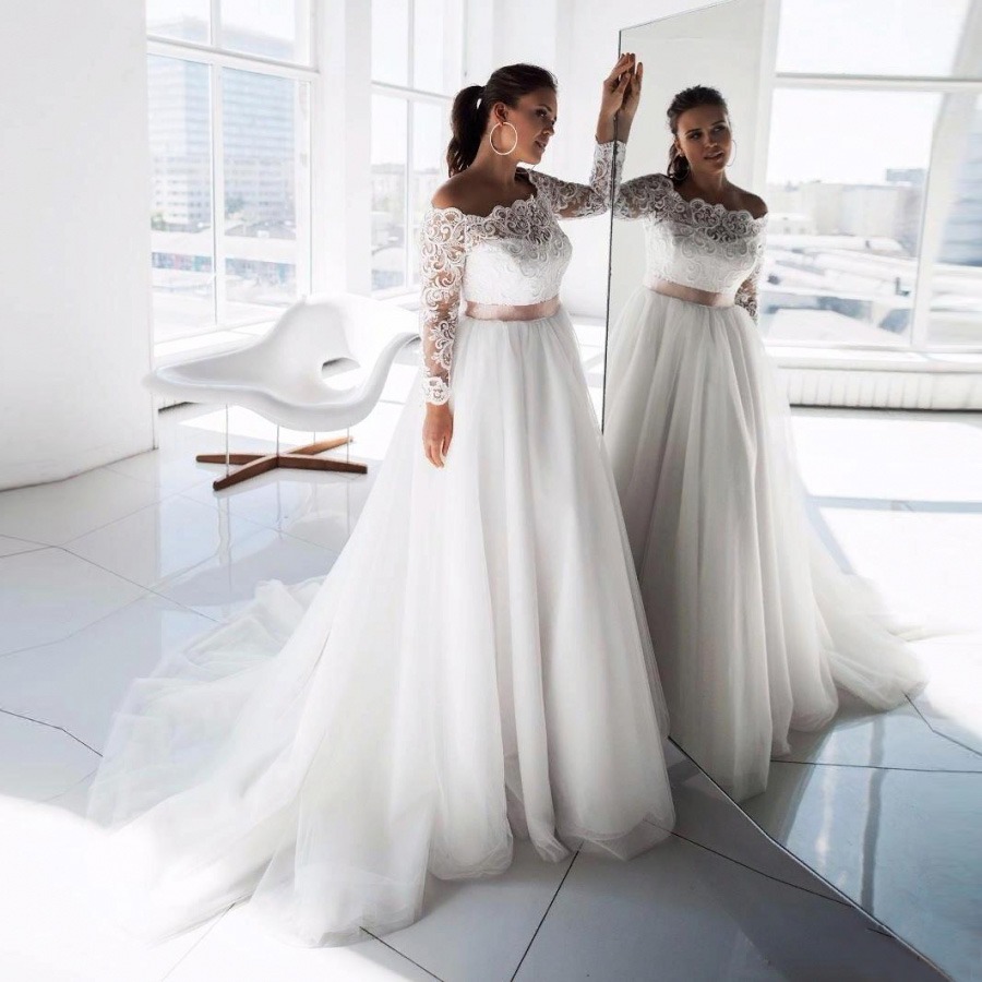 ADLN Elegant Plus Size Wedding Dresses Vestido De Noiva Long Sleeves Boat Neck Lace Tulle Bridal Gown  Robe De Mariage