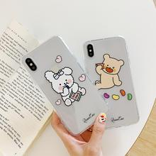 INS Korea cute cartoon love candy bear rabbit couple phone case for iphone Xs MAX XR X 6 6s 7 8 plus funny soft TPU back cover